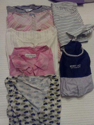 Ropa premamá. 6 camisetas y camisas manga corta embarazada y bañador.