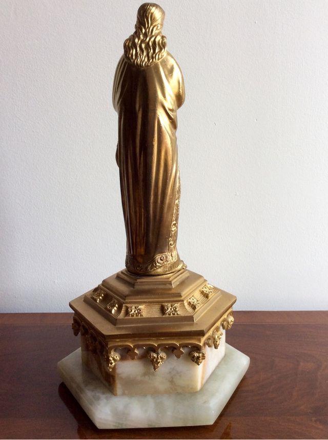 Figura Imagen Religiosa En Bronce Macizo Dorado Sobre Peana De Alabastro Y Bronce. Siglo XIX