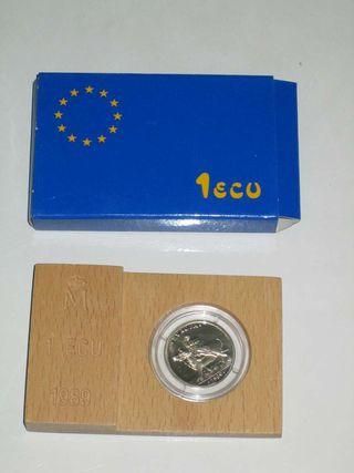 Estuche moneda 1 ECU 1989 plata proof