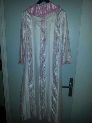 Jellaba robe marocaine blanc/rose/argenté Neuve