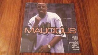 VINILO MALICIOUS - LOOK OUT/ STREETS WONT LET ME CHILL. RAP HIP HOP
