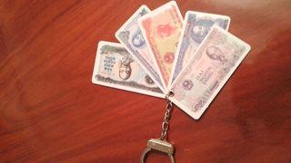 ORIGINAL llavero billetes nuevo.