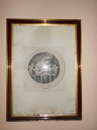 Grabado antiguo de Virgen