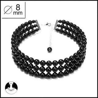 Elegante gargantilla perlas negras, nueva