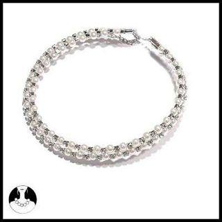Elegante gargantilla perlas y cristal, nueva