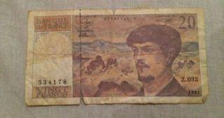 Billete de veinte francos franceses antiguo