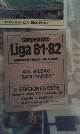 Cromos liga 1981/1982