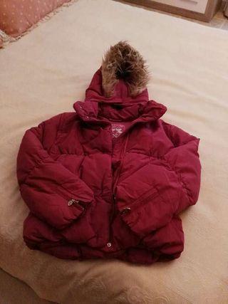 Abrigo plumas rosa fucsia