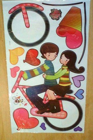 Nuevo.Mural de Stickers / pegatina pareja en bici