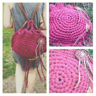 Mochila - bolso de trapillo con flecos