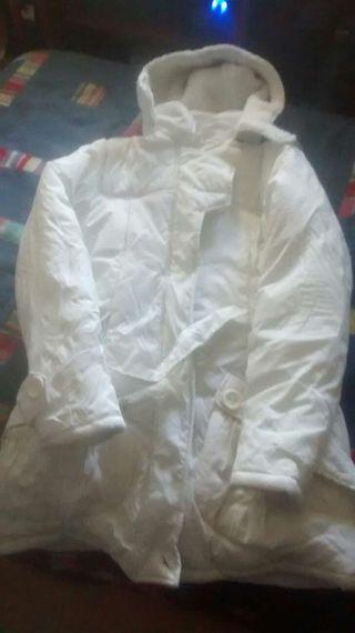 Abrigo mujer talla L color blanco