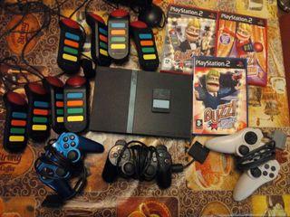 Playstation 2 slim+ 2mandos 8pulsadores juego buzz, 3juegos buzz..
