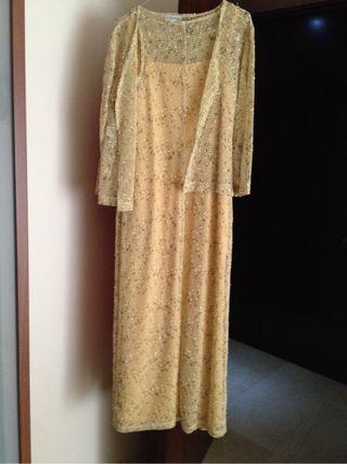 Vestido Largo 3 Piezas. Color Beig-cre-amariT44.
