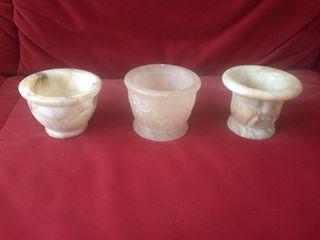 3 Morteros de mármol tallados