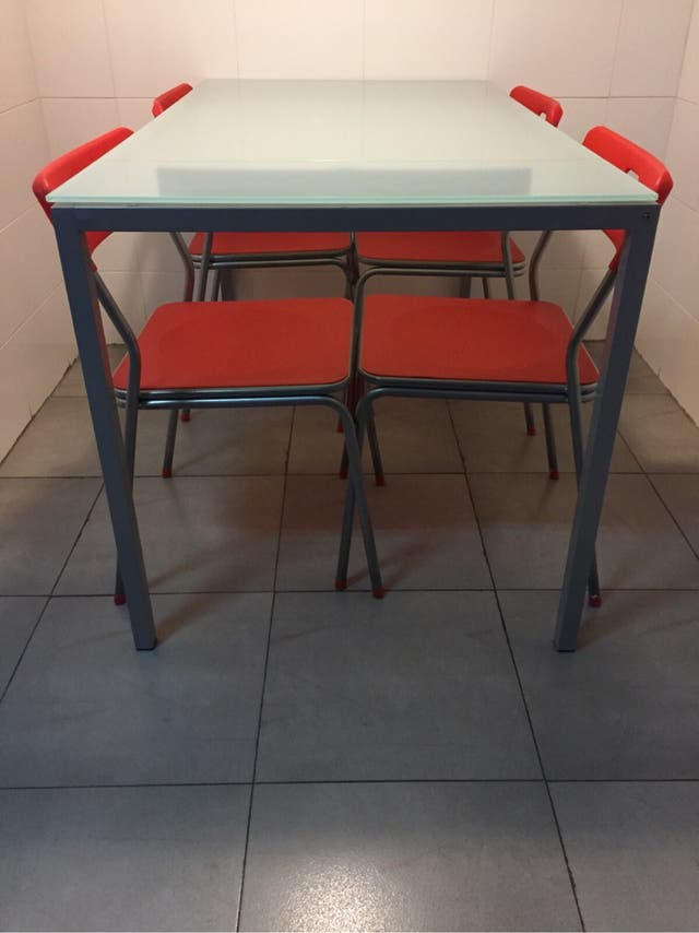 Mesa de cocina de cristal templado para comedor de segunda - Mesa cocina cristal templado ...