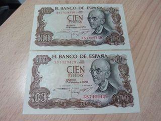 Pareja de 100 pesetas