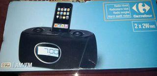 Reproductor soporte Iphone 4, radio y despertador