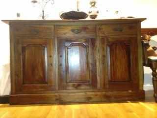 Bufete en teka natural, mueble comedor, armario,