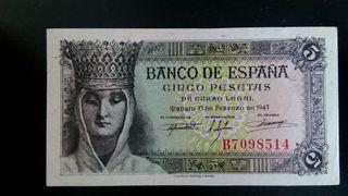 Vendo billete 5 pesetas 1943 madrid
