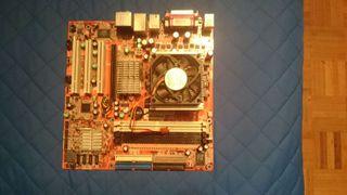 Placa base + microprocesador AMD + disipador + ventilador