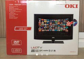 "Televisor OKI 22"" LED, DVD, USB GRABADOR"