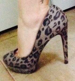 Zapatos Tacon Bershka 37 Print Leopardo