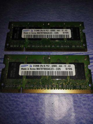 Memoria DDR2 Portatil 2x512Mb , 1gb. SAMSUNG 533Mhz