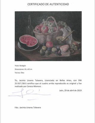 Cuadro pintor Cerezo con certificado