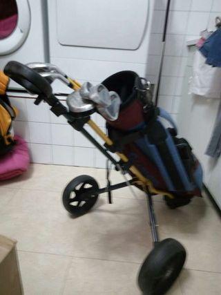 Juego de palos de golf de niño con bolsa y carro