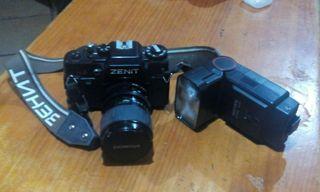 Camara reflex, flash y funda