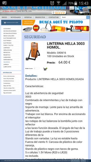 LINTERNA HELLA 3003 HOMOLOGADA sin estrenar