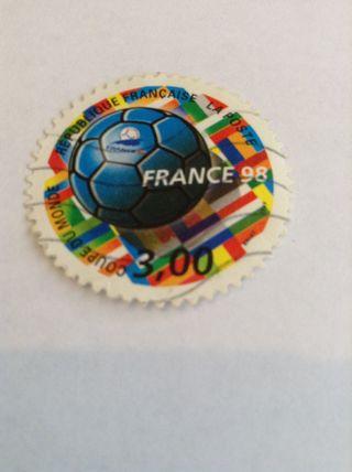 Sello Copa Del Mundo France 98, Usado Y Buen Estado. Filatelía. Futbol.