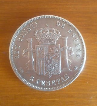 Moneda Plata Alfonso XII 1883
