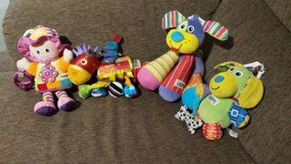 Lote 4 muñecos para bebes marca Lamaze.