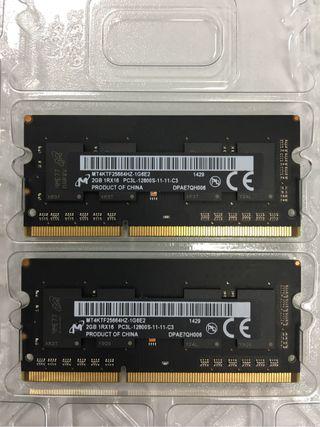 2 Modulos De Memoria RAM Total 4 Gb Para macbook Pro Y Compatibles
