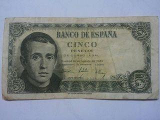 Billete CINCO Pesetas 16 Agosto 1951