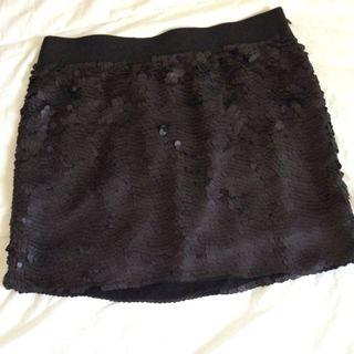 Falda Negra De Lentejuelas Mango