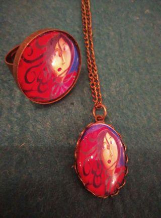 Conjunto caperucita roja broche, colgante, anillo
