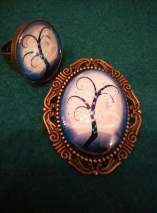 Conjunto broche y anillo arbol de la vida