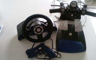 Volante+pedales+manillar de moto+pistola para ps2