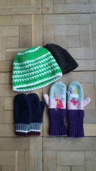 Guantes y gorros de lana niña/o. Tallas 5 y 7 años.