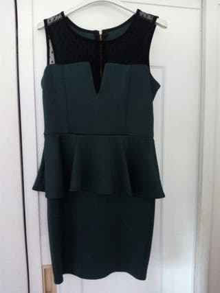 Vestido peplum verde esmeralda talla 38