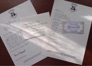 Carta De Admision a Hogwarts Harry Potter