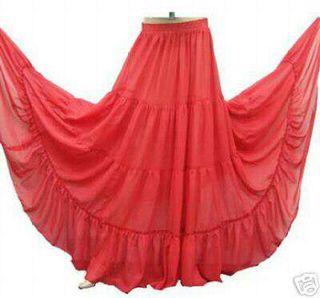 falda larga roja volante baile