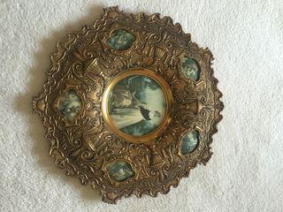 Decoracion De Pared De Bronce Con Esmaltes Antiguedad