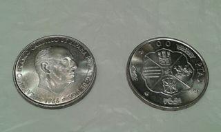 Moneda 100 Peseta franco plata