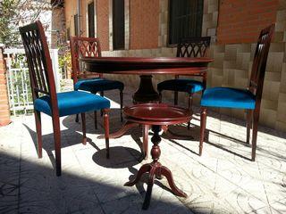 Conjunto mesa comedor, 6 sillas y mesa auxiliar