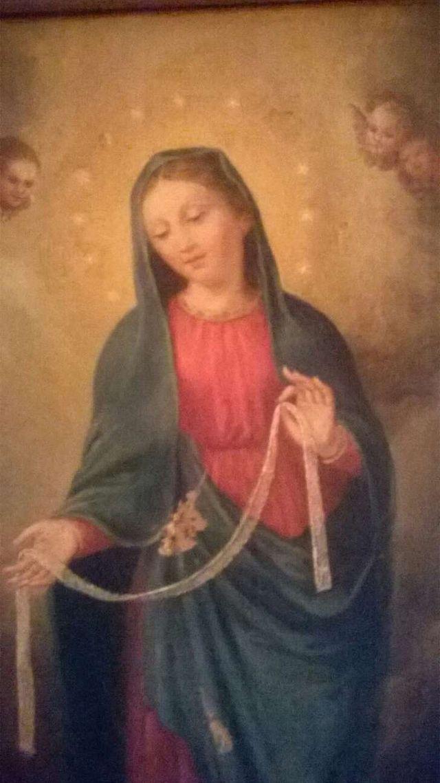Pintura al oleo. Virgen s. XIX.