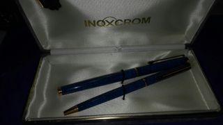 Juego de pluma y bolígrafo en oro Vintage