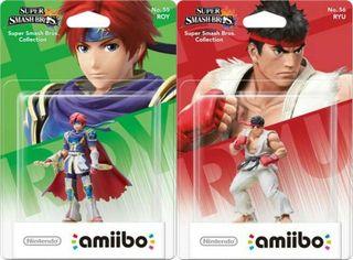 Amiibos Ryu, Roy y Samus.